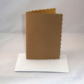 A5 Brown Kraft Scalloped Greeting Card Blanks With Envelopes